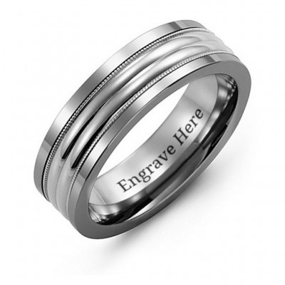 Tungsten Men's Double Row Inlay Tungsten Band Personalised Ring - AMAZINGNECKLACE.COM