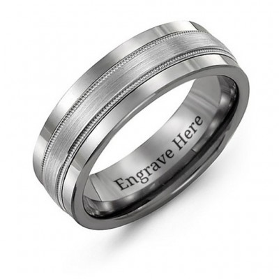 Tungsten Men's Grooved Centre Tungsten Band Personalised Ring - AMAZINGNECKLACE.COM
