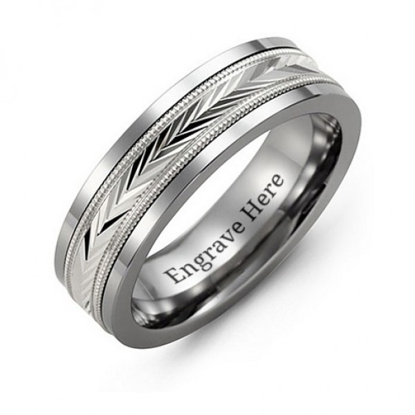 Tungsten Men's Tungsten Diamond Cut Inlay Band Personalised Ring - AMAZINGNECKLACE.COM