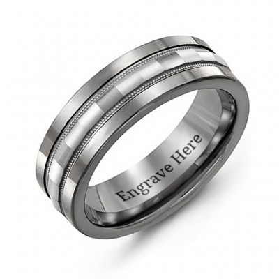 Tungsten Men's Tungsten Grooved Centre Band Personalised Ring - AMAZINGNECKLACE.COM