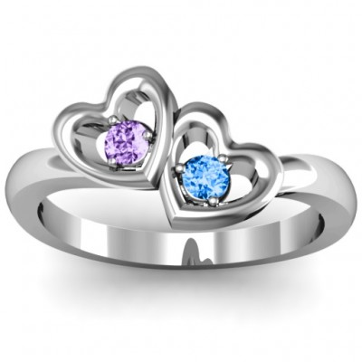 Twin Hearts Personalised Ring - AMAZINGNECKLACE.COM