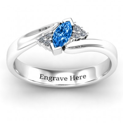 Twisted Marquise Personalised Ring with Shoulder Accents - AMAZINGNECKLACE.COM