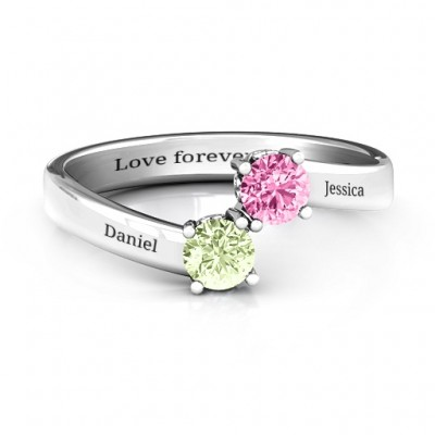 Two Stone Personalised Ring With Filigree Settings  - AMAZINGNECKLACE.COM