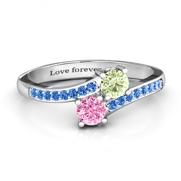 Two Stone Personalised Ring With Sparkling Accents And Filigree Settings  - AMAZINGNECKLACE.COM