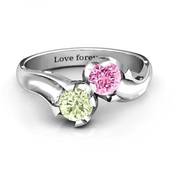 Two Stone Sparkle Personalised Ring  - AMAZINGNECKLACE.COM