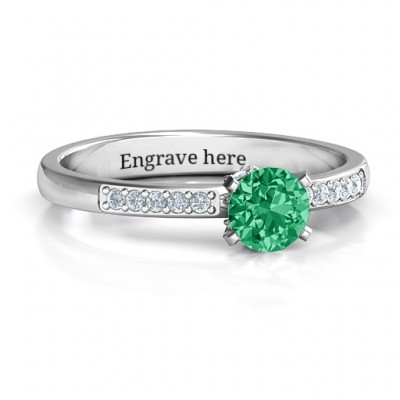 V Head Round Stone Personalised Ring with Seated Accent Stones  - AMAZINGNECKLACE.COM