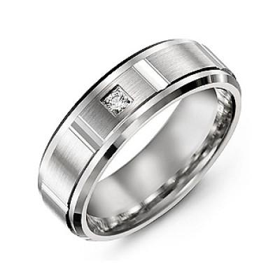Vertical Diamond-Cut Men's Gemstone Personalised Ring with Beveled Edges  - AMAZINGNECKLACE.COM