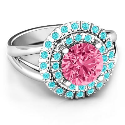 Victoria Double Halo Personalised Ring - AMAZINGNECKLACE.COM