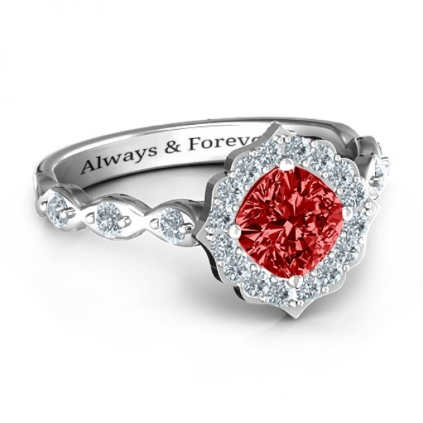 Vintage Glamour Personalised Ring With Accent Stones  - AMAZINGNECKLACE.COM
