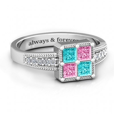 Vintage Princess Cut Personalised Ring with Shoulder Accents - AMAZINGNECKLACE.COM