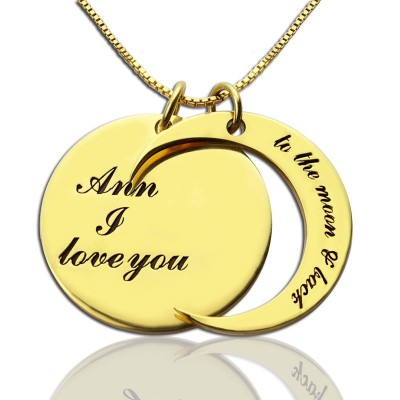 I Love You to The Moon and Back Love Personalised Necklace 18ct Gold Plated - AMAZINGNECKLACE.COM