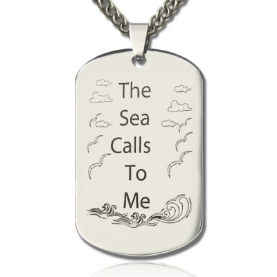 Man's Dog Tag Ocean Theme Name Personalised Necklace - AMAZINGNECKLACE.COM