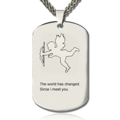 Cupid Man's Dog Tag Name Personalised Necklace - AMAZINGNECKLACE.COM