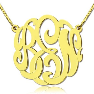18ct Gold Plated Large Monogram Personalised Necklace Hand-painted - AMAZINGNECKLACE.COM