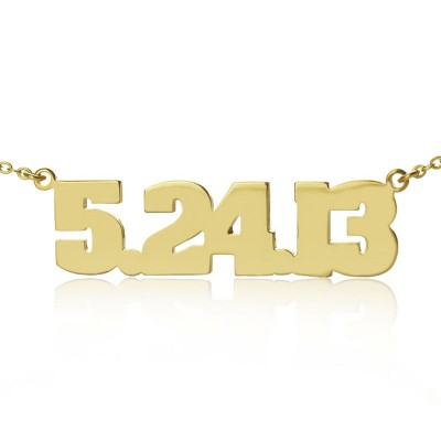 Gold Plated Silver Number Personalised Necklace - AMAZINGNECKLACE.COM