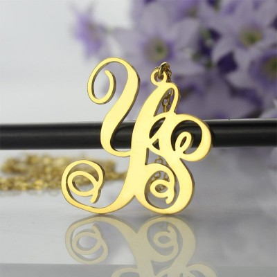 18ct Gold Plated 2 Initial Monogram Personalised Necklace - AMAZINGNECKLACE.COM