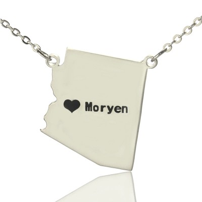 Custom Arizona State Shaped Personalised Necklaces With Heart  Name Silver - AMAZINGNECKLACE.COM