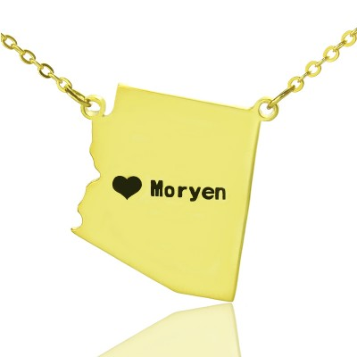 Custom Arizona State Shaped Personalised Necklaces With Heart  Name Gold Plated - AMAZINGNECKLACE.COM