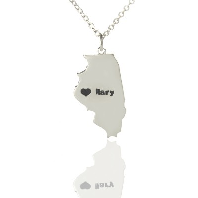 Personalised Illinois State Shaped Necklaces With Heart  Name Silver - AMAZINGNECKLACE.COM
