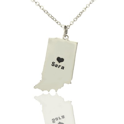 Custom Indiana State Shaped Personalised Necklaces With Heart  Name Silver - AMAZINGNECKLACE.COM