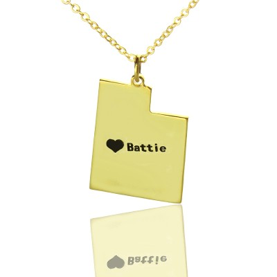 Custom Utah State Shaped Personalised Necklaces With Heart  Name Gold Plated - AMAZINGNECKLACE.COM