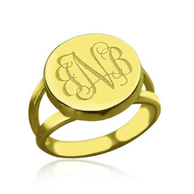 18ct Gold Plated Circle Monogram Signet Personalised Ring - AMAZINGNECKLACE.COM
