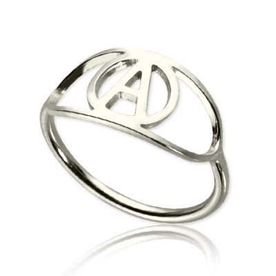 Personalised Eye Rings with Initial Sterling Silver - AMAZINGNECKLACE.COM