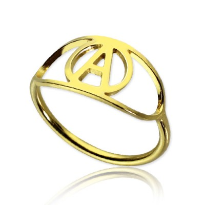 Personalised Eye Rings with Initial 18ct Gold Plated - AMAZINGNECKLACE.COM