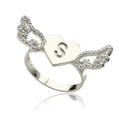 Heart Angel Wings Personalised Ring Engraved Initial  Birthstone Sterling Silver  - AMAZINGNECKLACE.COM