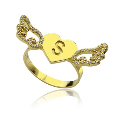 Angel Wings Heart Personalised Ring with Birthstone  Initial 18ct Gold Plated  - AMAZINGNECKLACE.COM
