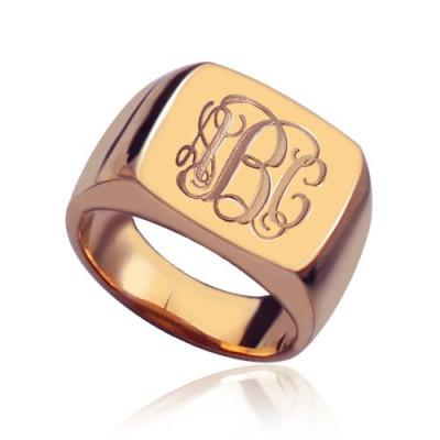 Square Script Monogram Initial Personalised Ring Rose Gold - AMAZINGNECKLACE.COM