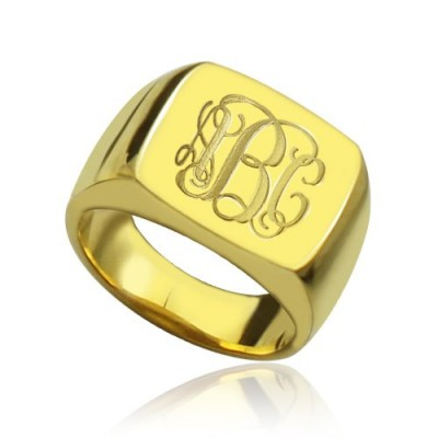 18ct Gold Plated Fashion Monogram Initial Personalised Ring - AMAZINGNECKLACE.COM