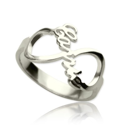 Personalised Infinity Nameplate Ring Sterling Silver - AMAZINGNECKLACE.COM