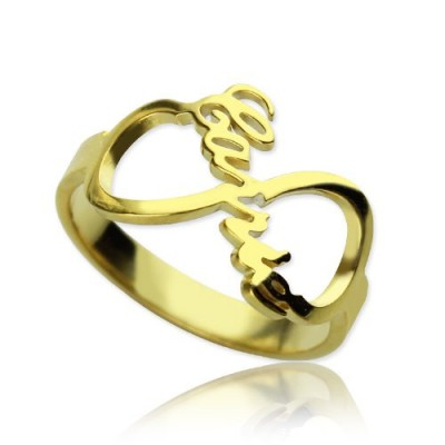 Custom Infinity Name Personalised Ring 18ct Gold Plated - AMAZINGNECKLACE.COM