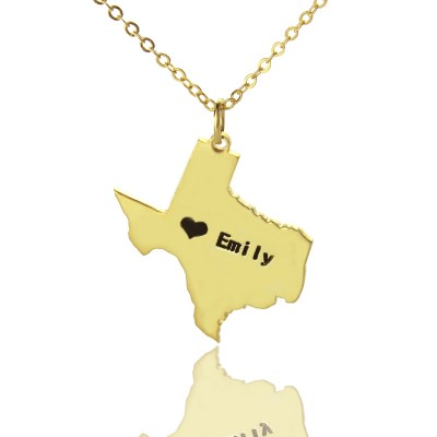 Texas State USA Map Personalised Necklace With Heart  Name Gold Plated - AMAZINGNECKLACE.COM
