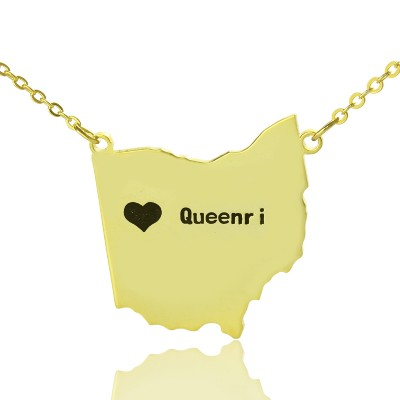 Custom Ohio State USA Map Personalised Necklace With Heart  Name Gold Plated - AMAZINGNECKLACE.COM
