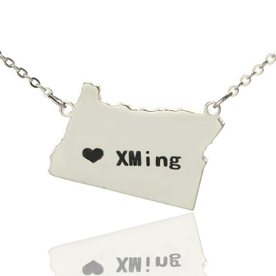 Custom Oregon State USA Map Personalised Necklace With Heart  Name Silver - AMAZINGNECKLACE.COM