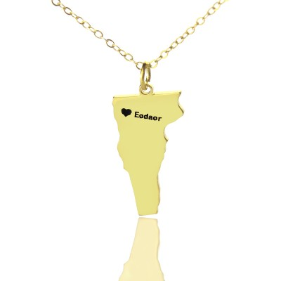 Custom Vermont State USA Map Personalised Necklace With Heart  Name Gold Plated - AMAZINGNECKLACE.COM