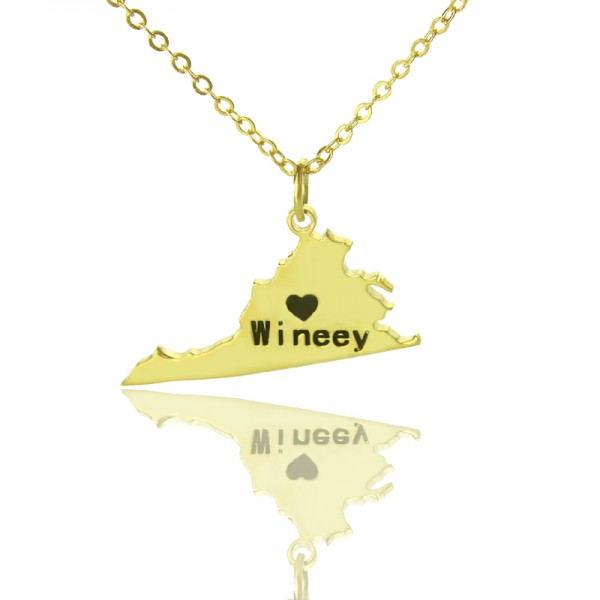 Virginia State USA Map Personalised Necklace With Heart  Name Gold Plated - AMAZINGNECKLACE.COM