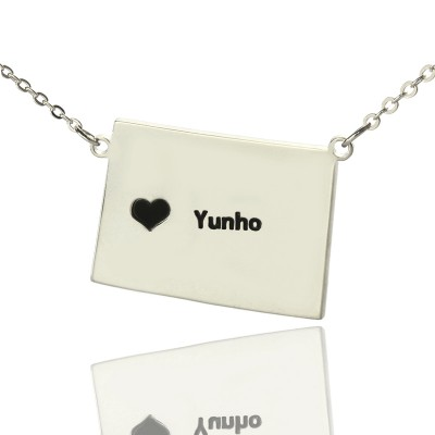 Wyoming State Shaped Map Personalised Necklaces With Heart  Name Silver - AMAZINGNECKLACE.COM