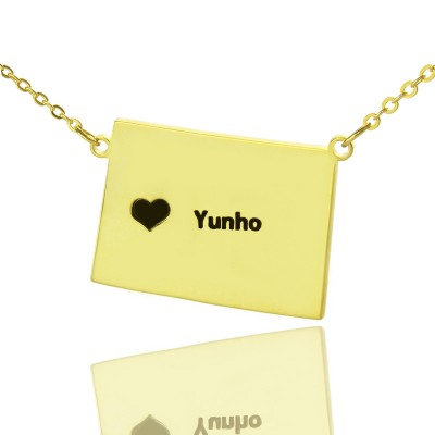 Wyoming State Shaped Map Personalised Necklaces With Heart  Name Gold Plated - AMAZINGNECKLACE.COM