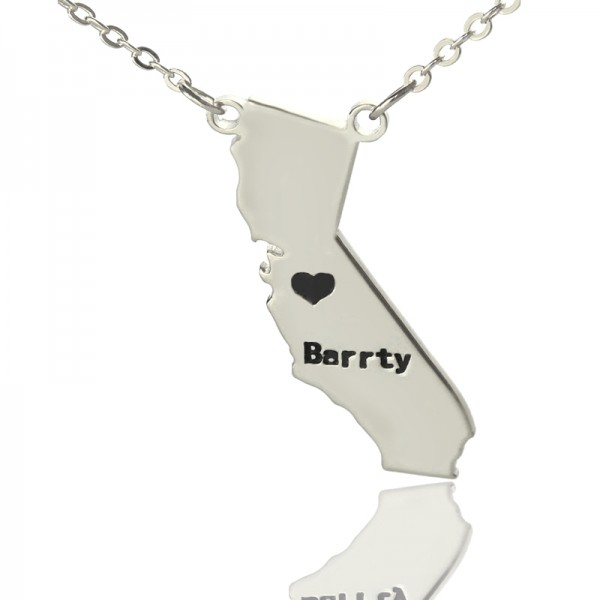 California State Shaped Personalised Necklaces With Heart  Name Silver - AMAZINGNECKLACE.COM