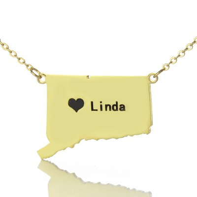 Connecticut State Shaped Personalised Necklaces With Heart  Name Gold Plate - AMAZINGNECKLACE.COM