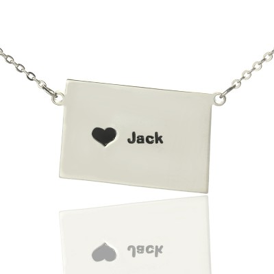 Colorado State Shaped Personalised Necklaces With Heart  Name Silver - AMAZINGNECKLACE.COM