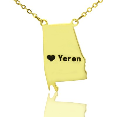 State USA Map Personalised Necklace With Heart  Name Gold Plated Silver - AMAZINGNECKLACE.COM
