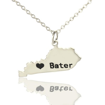 Custom Kentucky State Shaped Personalised Necklaces With Heart  Name Silver - AMAZINGNECKLACE.COM