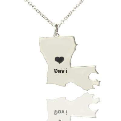 Custom Louisiana State Shaped Personalised Necklaces With Heart  Name Silver - AMAZINGNECKLACE.COM