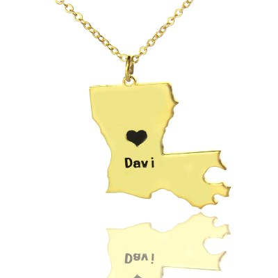 Custom Louisiana State Shaped Personalised Necklaces With Heart  Name Gold Plated - AMAZINGNECKLACE.COM