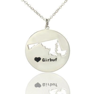 Custom Maryland Disc State Personalised Necklaces With Heart  Name Silver - AMAZINGNECKLACE.COM