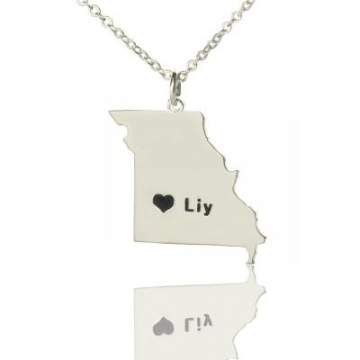 Custom Missouri State Shaped Personalised Necklaces With Heart  Name Silver - AMAZINGNECKLACE.COM